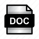 doc file, extension, file, format, type, word doc icon