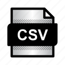 csv, csv file, document, extension, file, format, type icon