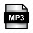 extension, file, format, mp3, mp3 format, type icon