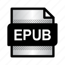 epub, epub book, extension, file, files, format, type icon