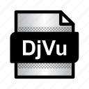 djvu, djvu file, document, extension, file, format, type icon