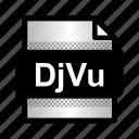 djvu, djvu file, document, extension, file, format, type icon
