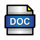 doc, extension, file, format, text, type, word icon