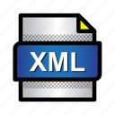 data, extension, file, format, type, xml, xml file icon