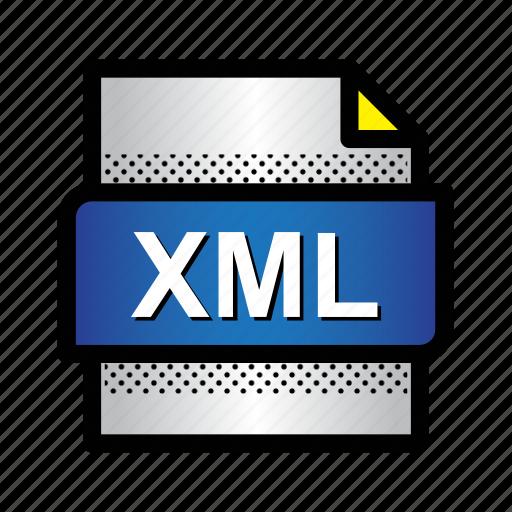 data, extension, file, format, type, xml, xml file icon