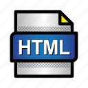 document, extension, file, format, htm, html, type icon
