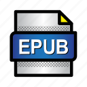 book, ebook, epub, extension, file, format, type icon