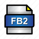 book, ebook, extension, fb2, file, format, type icon