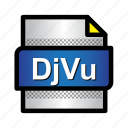djvu, document, extension, file, files, format, type icon