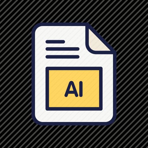 document, extension, file, illustrator, type icon