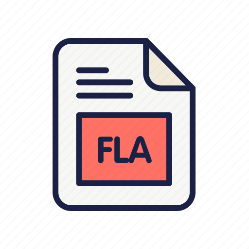 document, extension, file, fla, flash, type icon