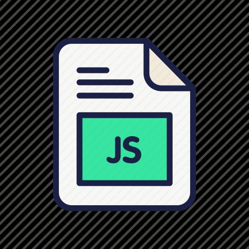 document, extension, file, javascript, js, type icon