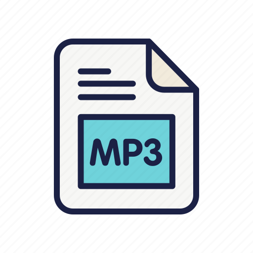 audio, document, extension, file, mp3, type icon