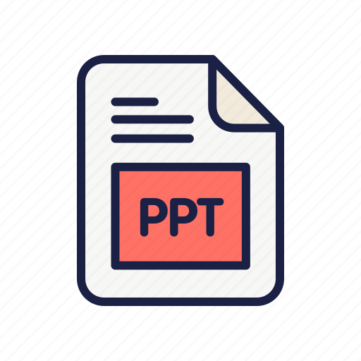 document, extension, file, ppt, type icon