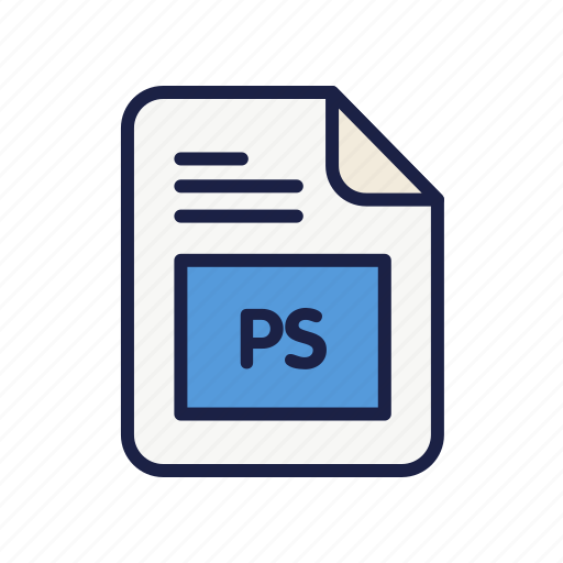 document, extension, file, ps, type icon