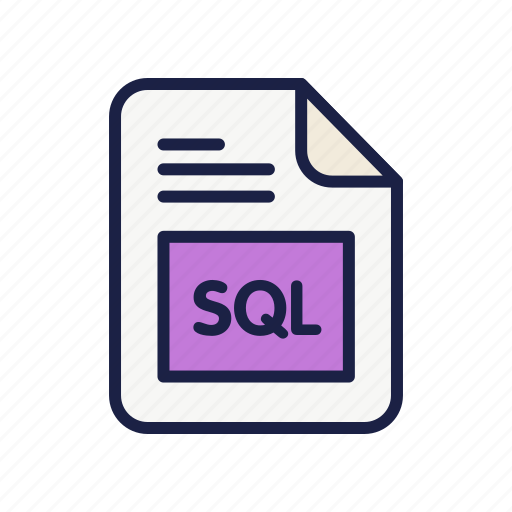 data base, extension, file, sql, type icon
