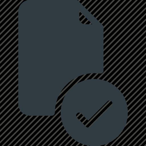 Documen, paper, check, file, mark icon