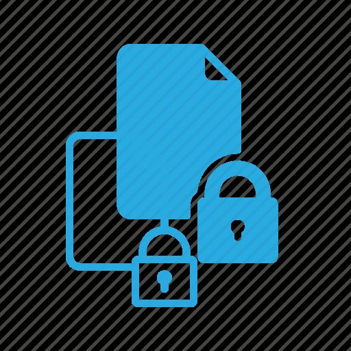 documen, file, lock, paper, secure icon