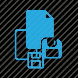 documen, file, floppy, paper, save icon