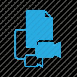 camera, documen, file, paper, video icon