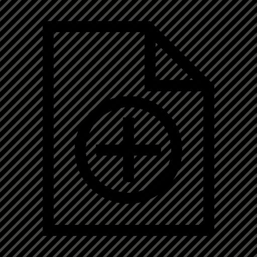 add, document, file, new, plus icon