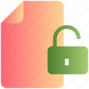 access, document, file, padlock, unlock