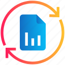 chart, document, file, graph, reload, sync