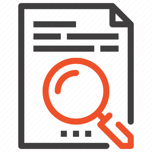 content, data, document, file, find, magnifier, search icon