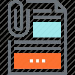 attachment, data, document, file, office, paper, report icon