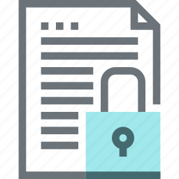 data, document, file, padlock, paper, protection, security icon