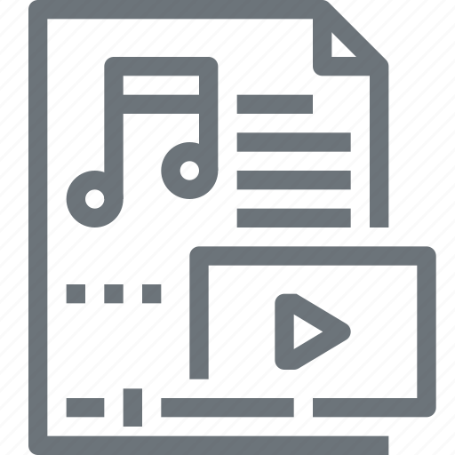 entertainment, file, media, multimedia, music, note, video icon