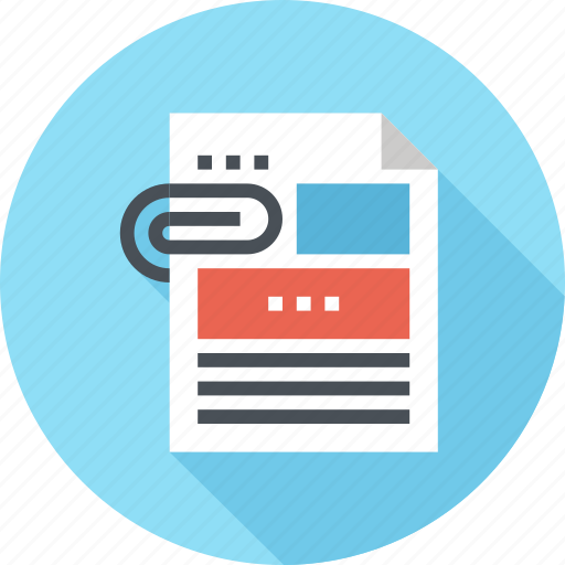 Attachment, data, document, file, office, paper, report icon - Download on Iconfinder