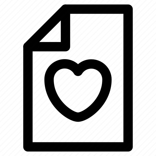 document, favorite, file, heart, paper icon