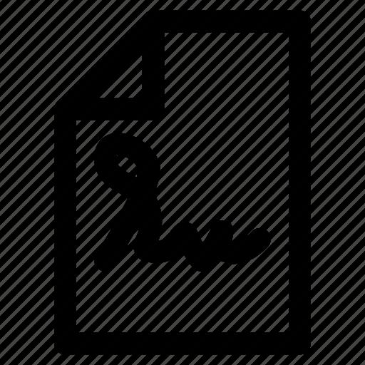 document, file, paper, signature icon