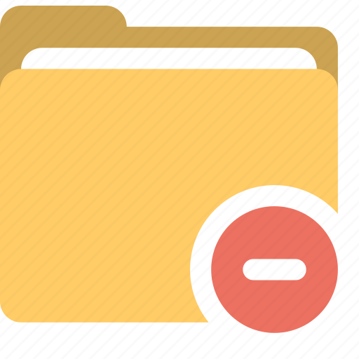 delete documents, delete folder, folder, minus icon