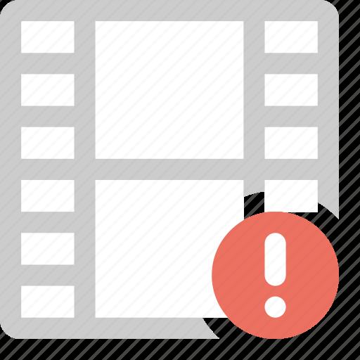 alert, media, video, warning film icon