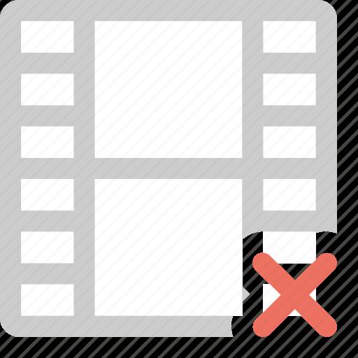 cancel film, delete fil, error, media, remove video, video icon
