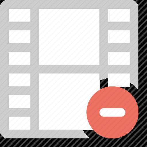 delete film, media, minus, remove video, video icon