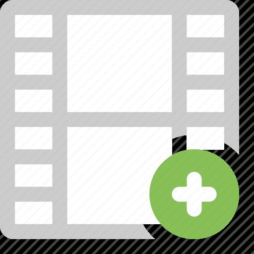 add film, add video, media, plus, video icon