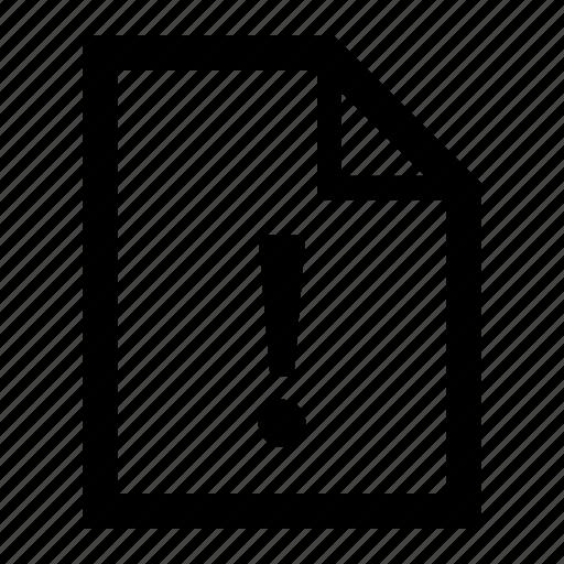 alert, document, error, file, warning icon