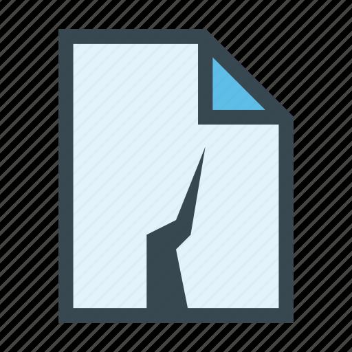 broken, damaged, document, error, file icon