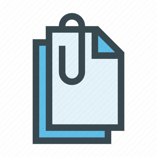 attach, attached, clip, document, file, paper icon