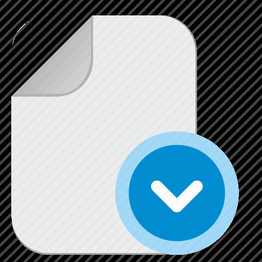 arrow, bottom, document, down, file icon