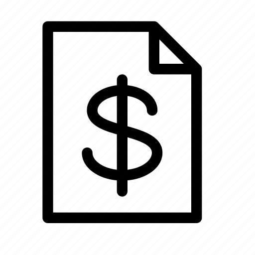accounting, document, dollar, file, finance, money icon