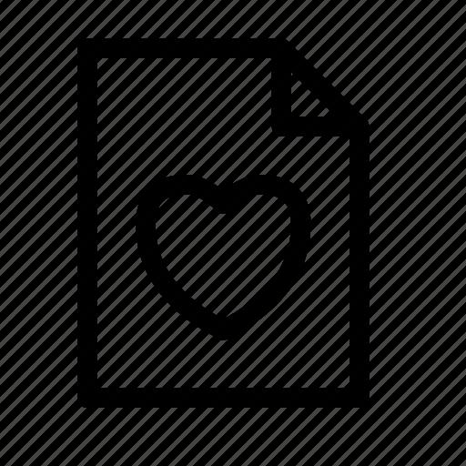 bookmark, document, favorite, file, heart, like, love icon