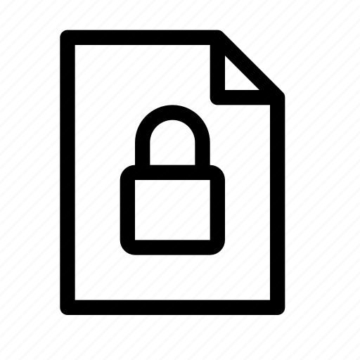 document, encrypted, file, lock, password, protection, secure icon