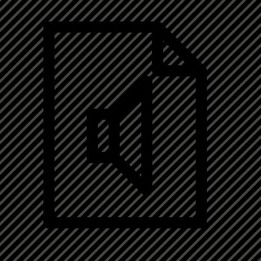 audio, clip, document, file, mp3, sound, speaker icon