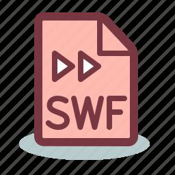 document, flash, format, swf icon