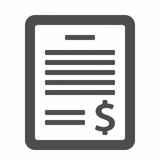 bill, document, file, letter, money, page, tax icon
