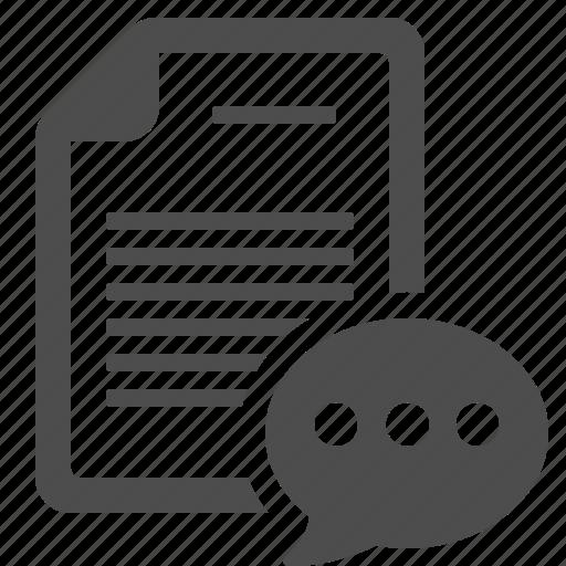 chat bubble, communication, document, file, letter, page, speech bubble icon